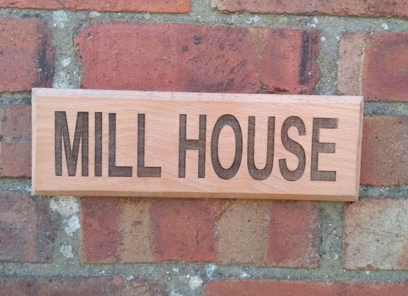 Personalised SOLID BEECH Wooden House Name Sign Wall Gate Fence plaque
